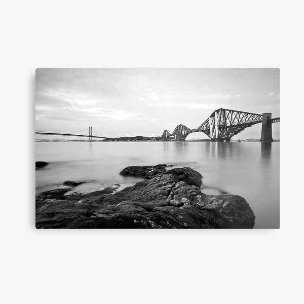 Forth Bridges at Dusk Metal Print