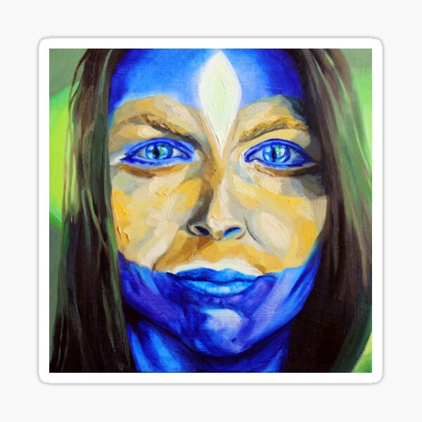 Blue Download (self portrait) Sticker