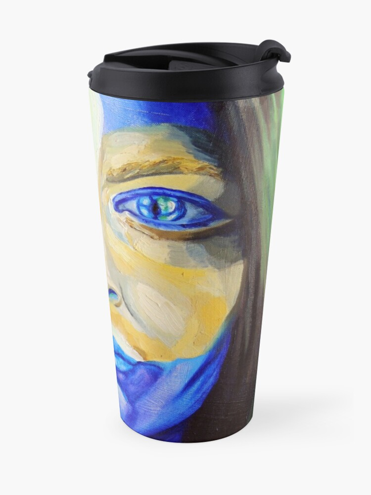 Alternate view of Blue Download (self portrait) Travel Mug