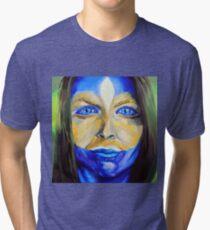 Blue Download (self portrait) Tri-blend T-Shirt