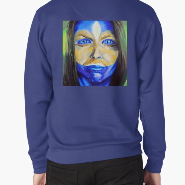 Blue Download (self portrait) Pullover Sweatshirt