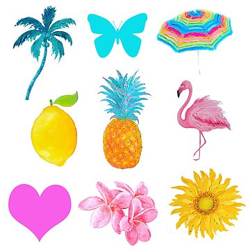 Happy Tropical Stickers Set by MatsonArtDesign