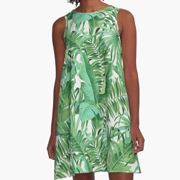 Green tropical leaves II A-Line Dress