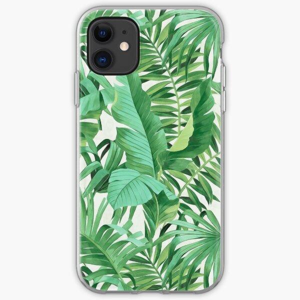 Green tropical leaves II iPhone Soft Case