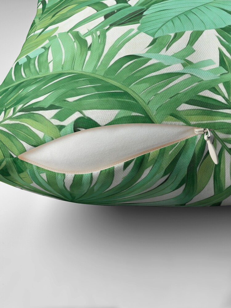 Alternate view of Green tropical leaves II Throw Pillow