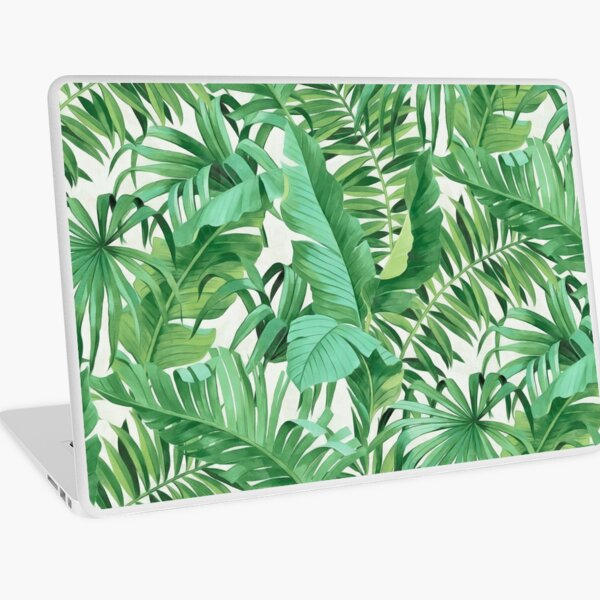 Green tropical leaves II Laptop Skin