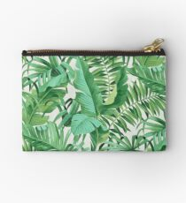 Green tropical leaves II Zipper Pouch
