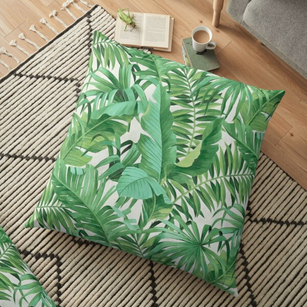 Green tropical leaves II Bodenkissen