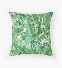 Green tropical leaves II Floor Pillow