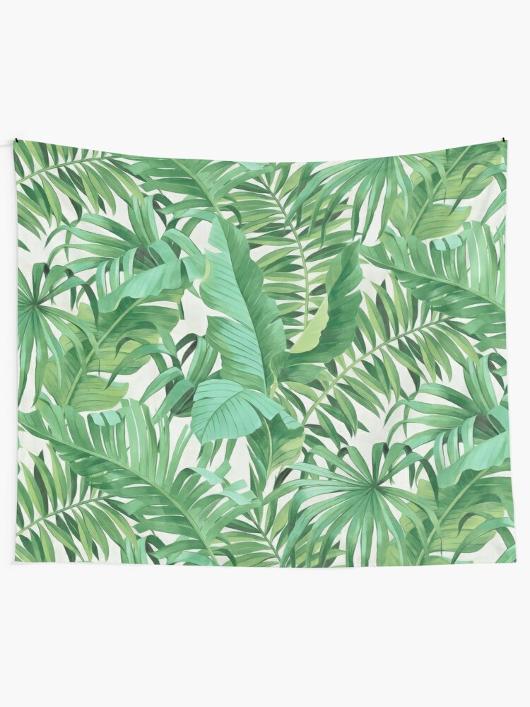Alternate view of Green tropical leaves II Wall Tapestry