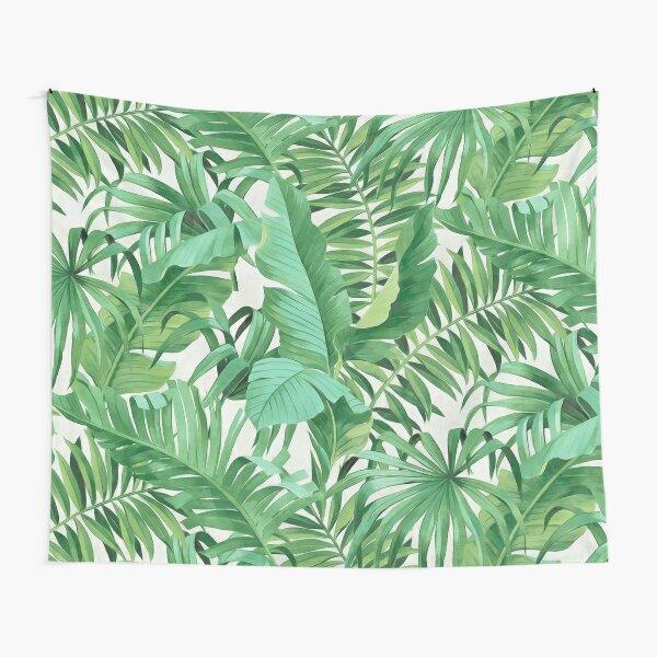 Green tropical leaves II Tapestry