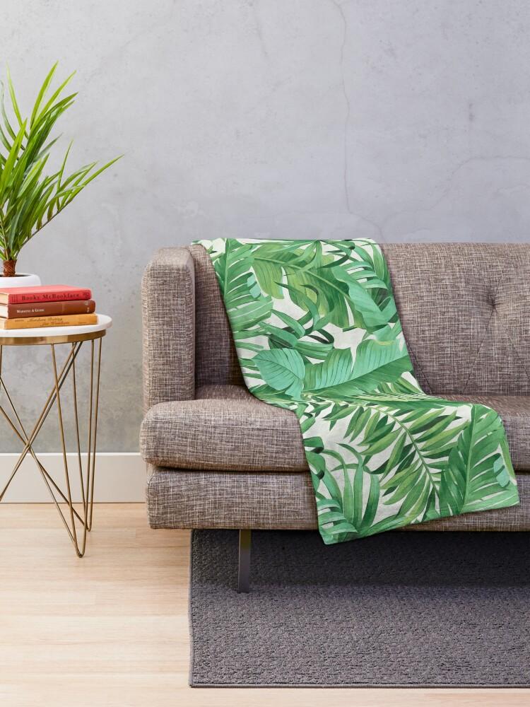 Alternate view of Green tropical leaves II Throw Blanket