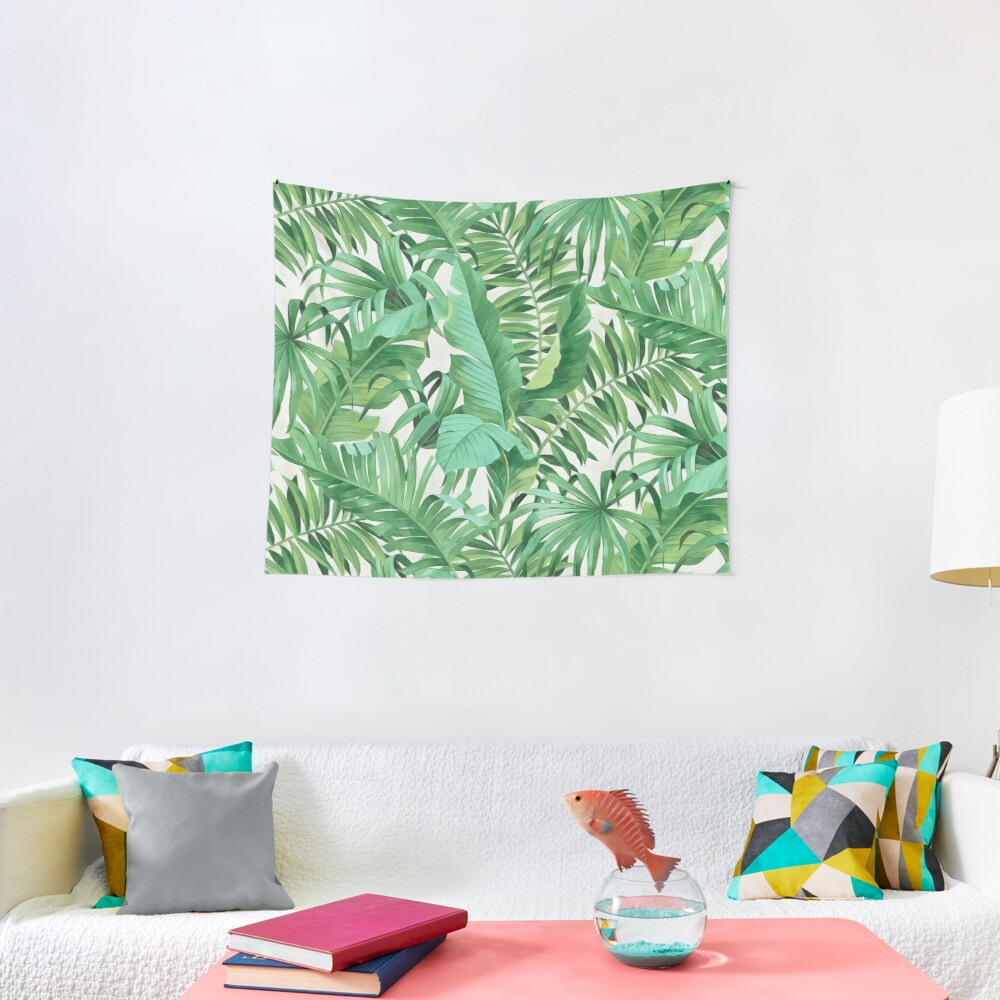 Green tropical leaves II Tapestry