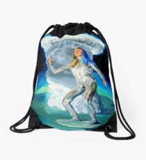 Space Woman Knows the Way Drawstring Bag