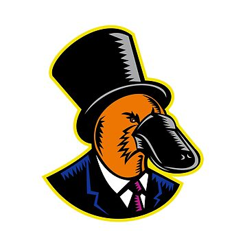 Duck-billed Platypus Tophat Woodcut Color by patrimonio