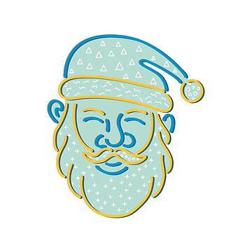 Santa Claus Head Memphis Style by patrimonio