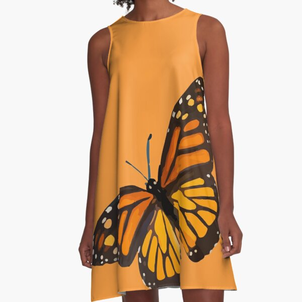 Monarch Butterfly - Burnt Orange A-Line Dress