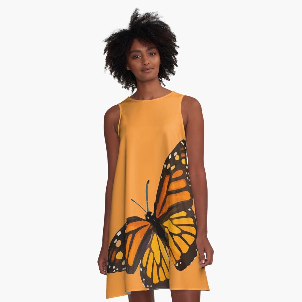 Monarch Butterfly - Burnt Orange A-Line Dress