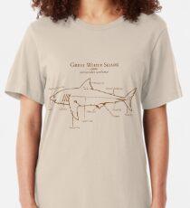 Great White Shark Illustration Slim Fit T-Shirt