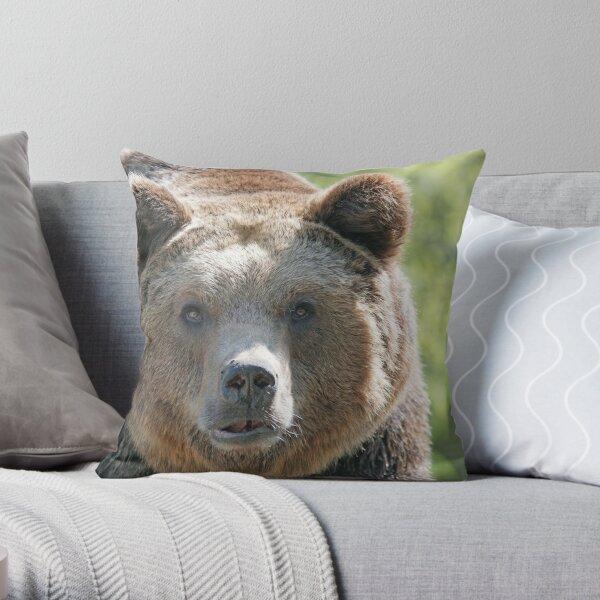 Bear, bear's face, forest bear, terrible bear, bear-to-beard Throw Pillow