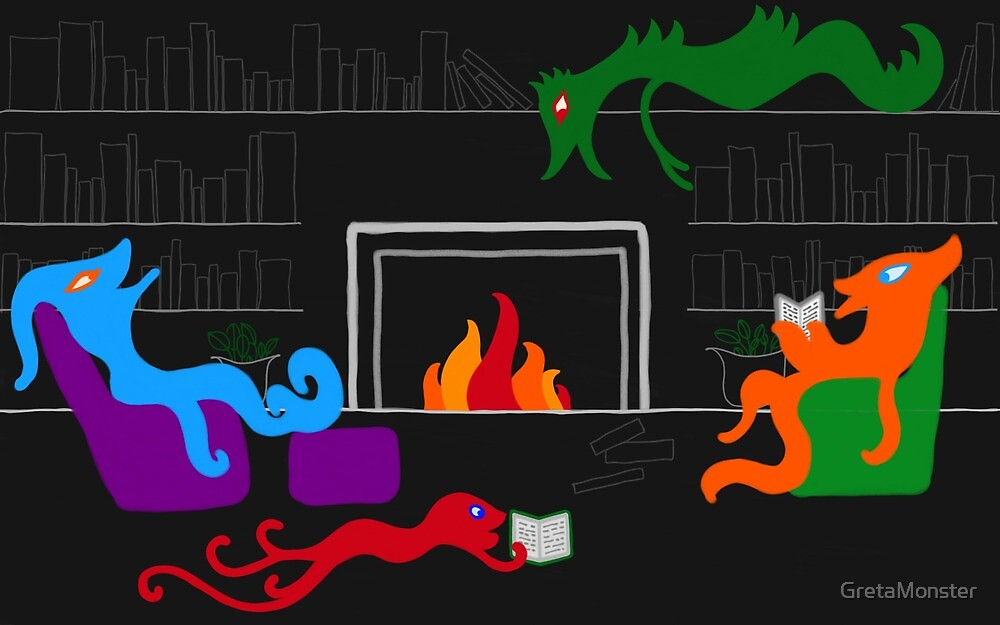 Happy Monsters by the Library Fireplace  by GretaMonster