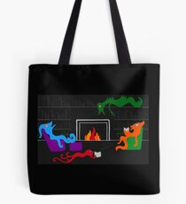 Happy Monsters by the Library Fireplace  Tote Bag