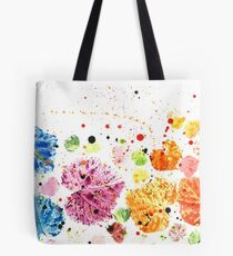 Colorful Rainbow Leaves - Autmnal Happy Leaf Composition Tote Bag