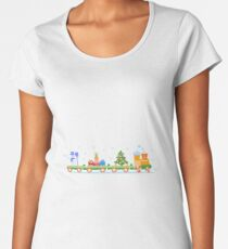 Train carries Christmas tree, snowman, gifts. Women's Premium T-Shirt