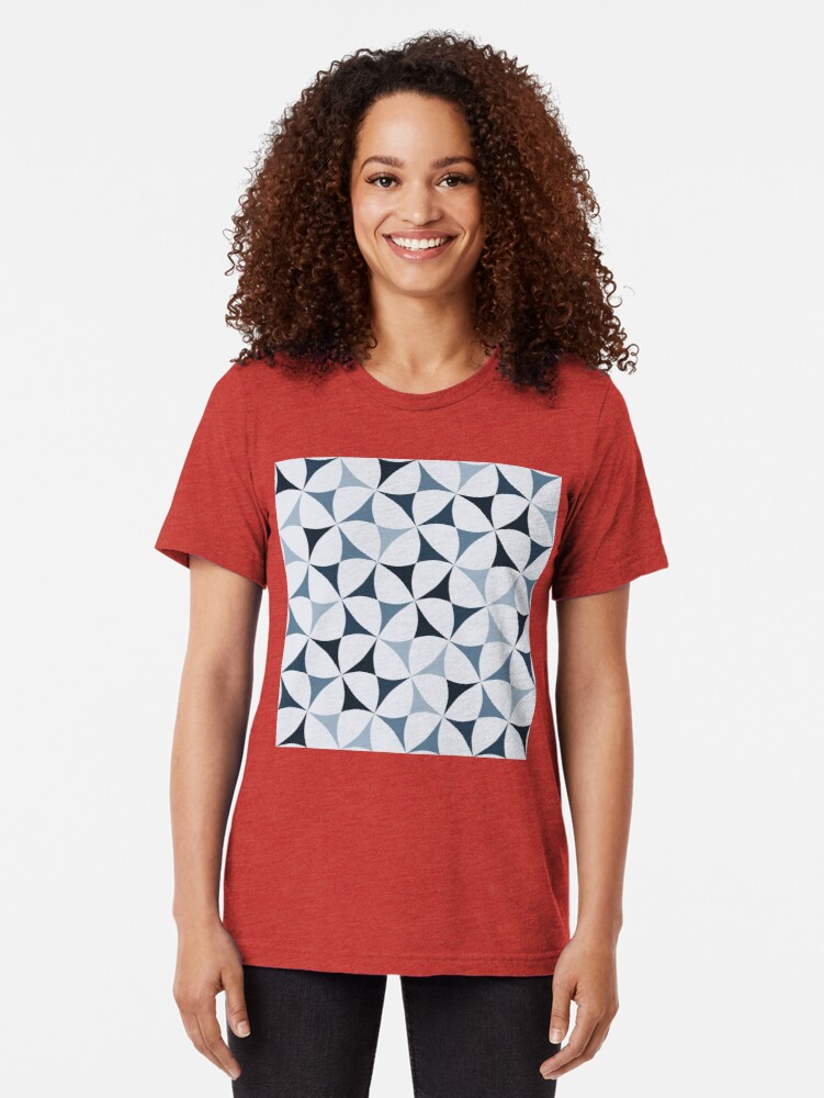 Alternate view of Geometric Pattern: Windmill: Winter Tri-blend T-Shirt