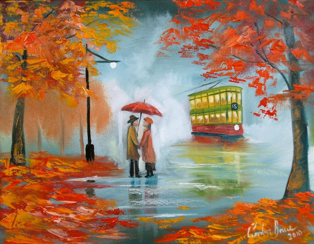 Meeting in the rain Oil painting by GORDON BRUCE ART