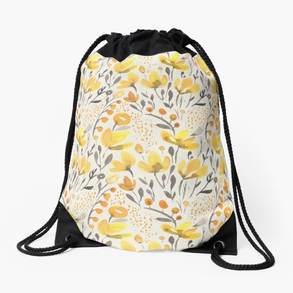 Yellow field Drawstring Bag