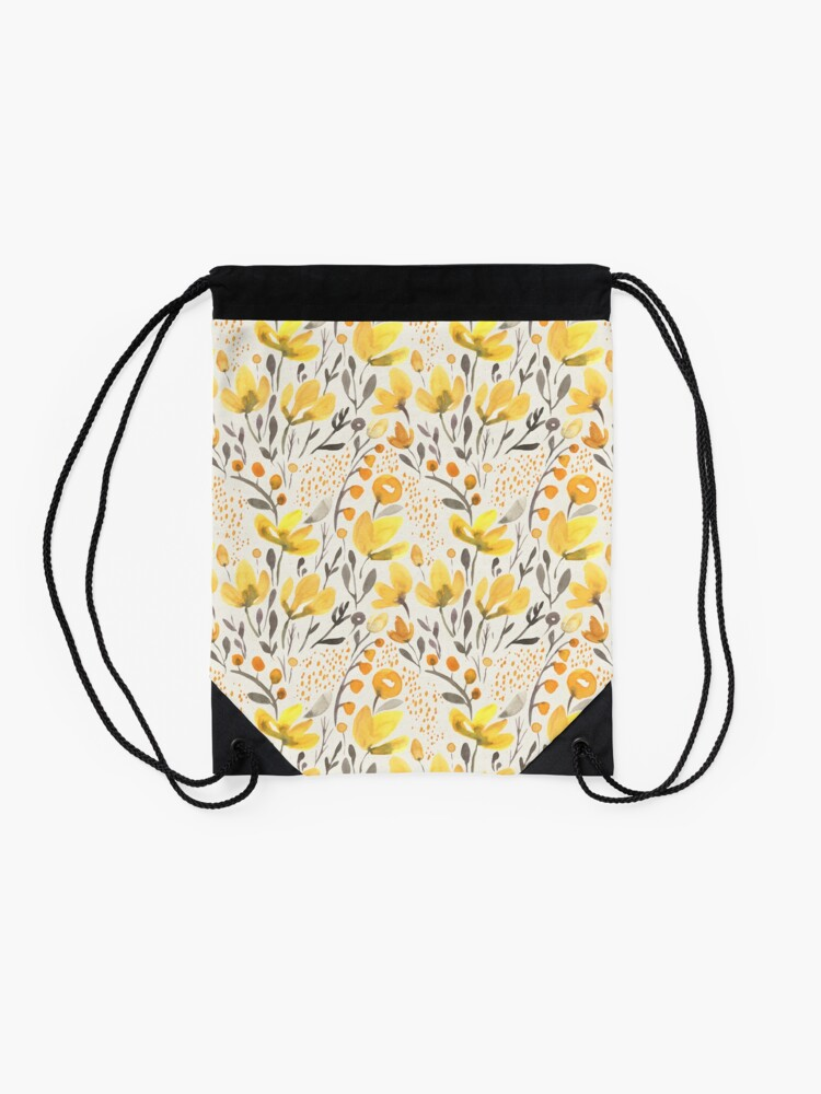 Alternate view of Yellow field Drawstring Bag