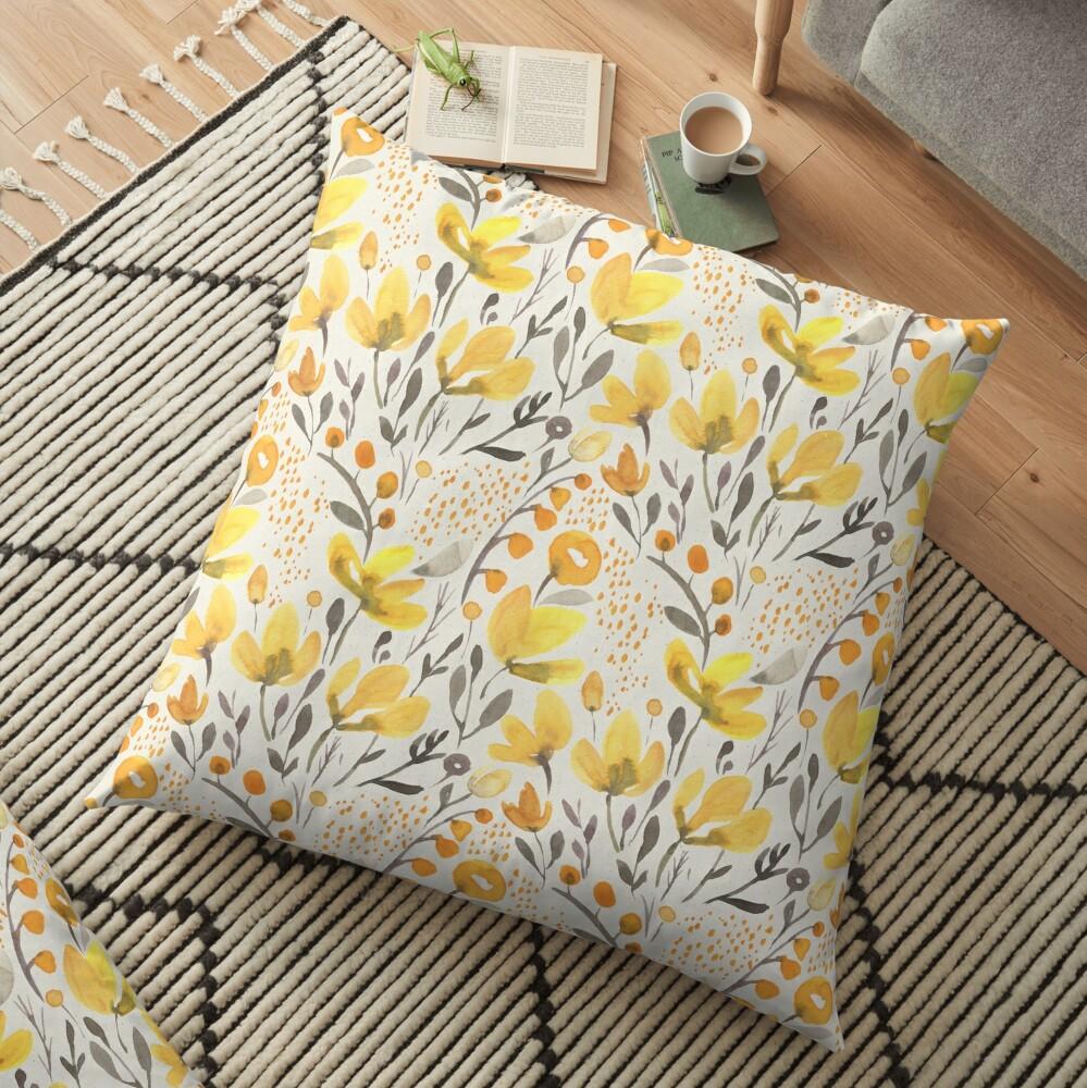 Yellow field Floor Pillow