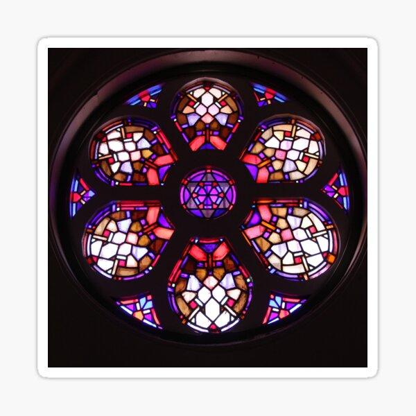 Purple Rosary Window Mandala Photo Sticker