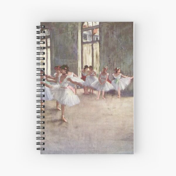 Edgar Degas French Impressionism Oil Painting Ballerinas Rehearsing Dancing Spiral Notebook