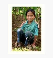 young girl working in the corn fields, Everest foothills Art Print