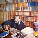 Edgar Degas French Impressionism Oil Painting Man Thinking in Study with Books by jnniepce