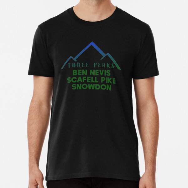 Three Peaks, Scafell Pike, Ben Nevis and Snowdon. Premium T-Shirt