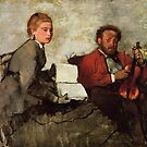 Edgar Degas French Impressionism Oil Painting Man with Violin Woman with Book by jnniepce