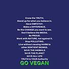 VEGAN Commandments Animal Rights Message Go Vegan by VIDDAtees
