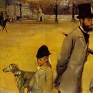 Edgar Degas French Impressionism Oil Painting Man in Top Hat with Children and Dog by jnniepce