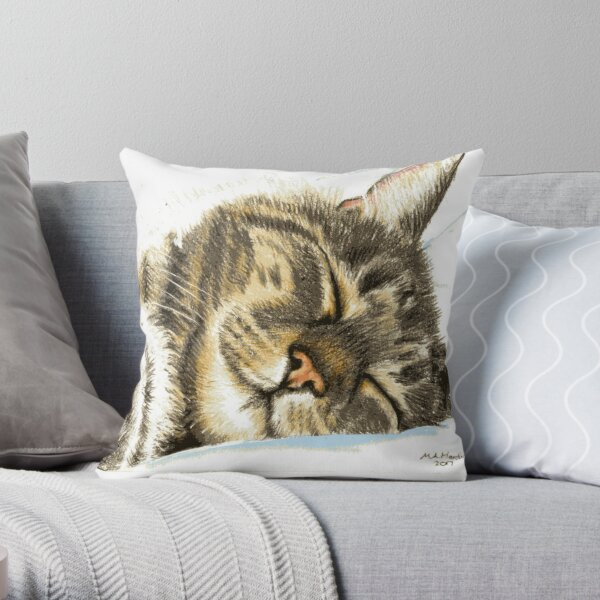 Sleeping Tabby Cat Throw Pillow