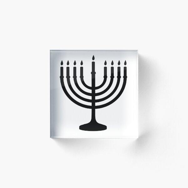 Menorah, sacred, candelabrum, seven branches, Temple, Jerusalem, Bezalel Acrylic Block