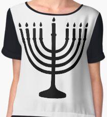 Menorah, sacred, candelabrum, seven branches, Temple, Jerusalem, Bezalel Chiffon Top