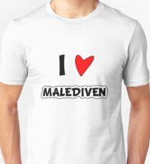 I love the Maldives. Heart, Love, Love, Maldives, Vacation, Dream Beach, Gift, Sun, Palm Trees Unisex T-Shirt