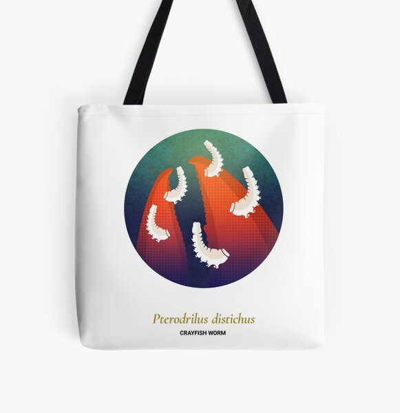 The Circles of Life: Crayfish Worm All Over Print Tote Bag
