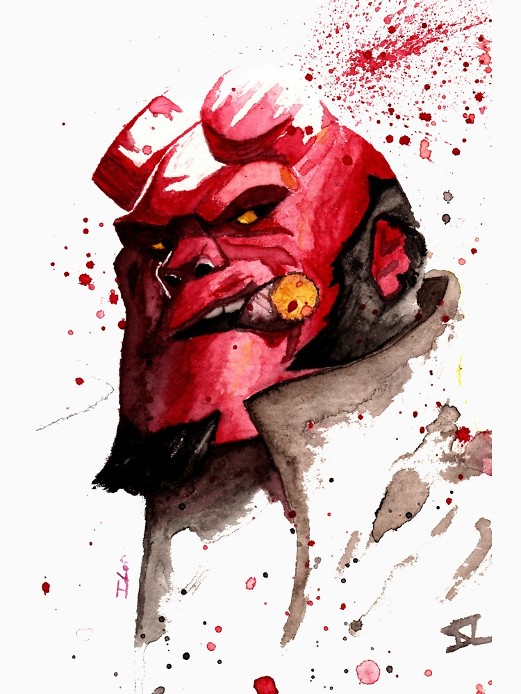 Hellboy Watercolor Design Comic Fanart by ILoresart
