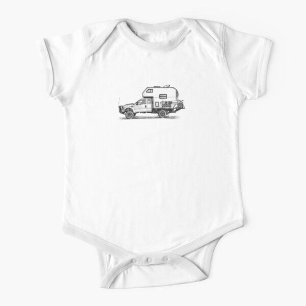 Personalised Funny Pink VW Bus Camper Van Short Sleeve Baby Grow Body Suit Vest
