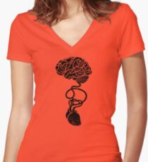 Heart and Brain Connected Women's Fitted V-Neck T-Shirt