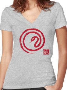 Chinese Galligraphic Snake as Symbol of Year 2013 Women's Fitted V-Neck T-Shirt